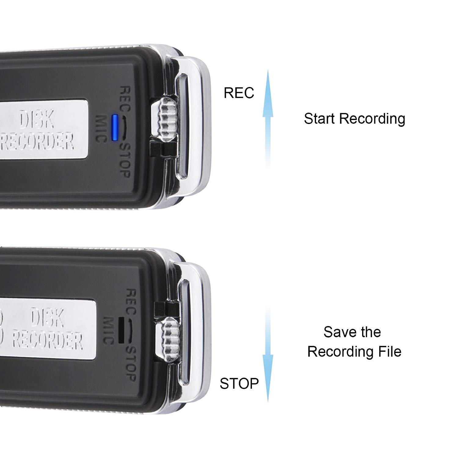 Meetings 8 GB Voice Recorder Rechargeable Mini USB Voice Recorder USB Flash Drive Voice Activated Recorder Dictaphone 15 Hours Battery Life 150 Hours File Capacity for Playback Lectures Interviews