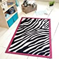Dalyn Rugs 735 3x5 Zebra Kids Area Rug 3 3 X 5 Black White Hot Pink