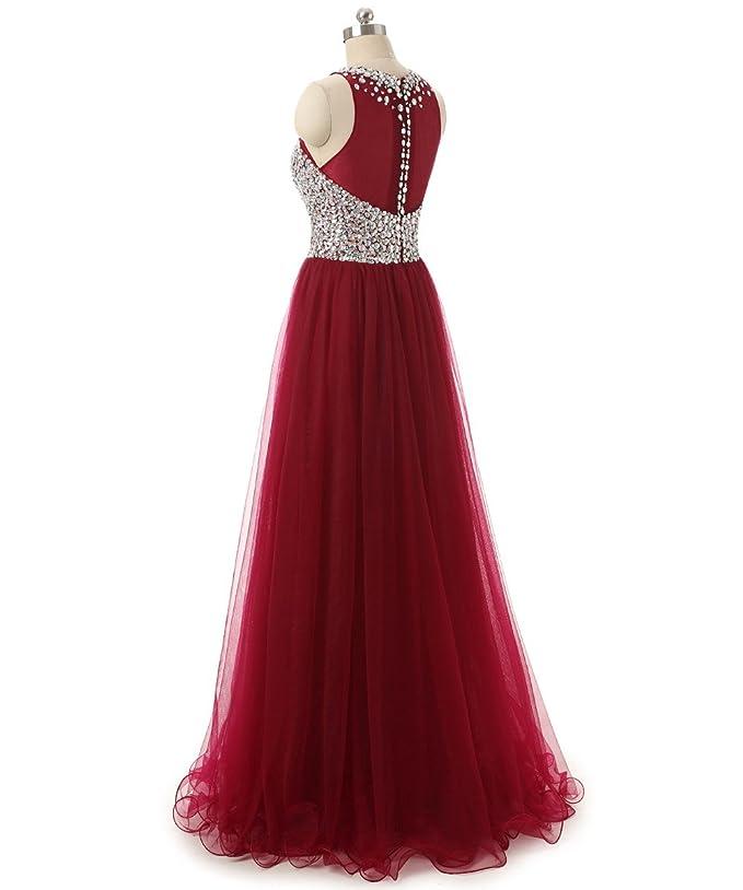 9cb44f4b2e81 Amazon.com  Callmelady Tulle High Neck Beaded Long Prom Dresses for Women   Clothing