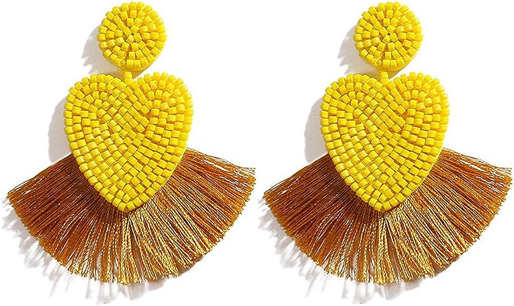Boho Handmade Seed Bead Heart Drop Tassel Earrings Jewelry Woman Blue FAMARINE Love Beaded Earrings