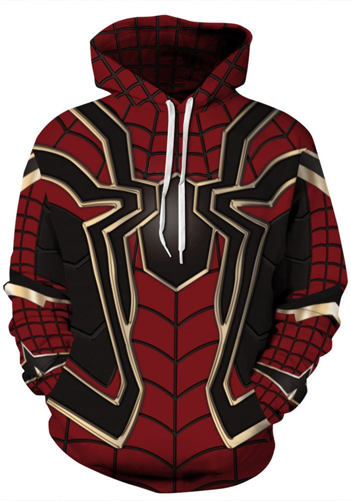AMOMA Unisex Realistic 3D Digital Print Pullover Hoodie Hooded Sweatshirt (Small/Medium, Spider)