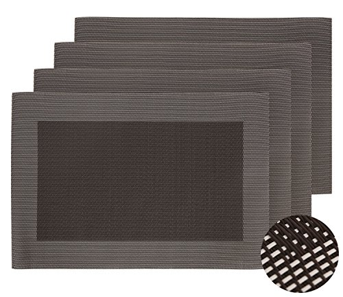 Deconovo Placemats Stain Resistant Anti-skid Place Mats Double-faced Crossweave Woven Placemats Non-slip Placemat Dining Table Mats for Kitchen Table 12 W x 18 L Inch Chocolate and White Set of 4