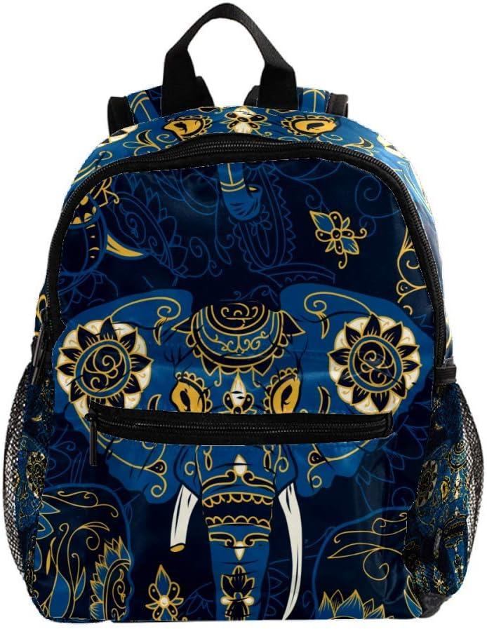 Mochila para Niñas Niños Bolsa de Escuela Niños Librero Mujeres Casual Daypack Lindo Azul Mar Caballo Tortuga Tótem Elefante Azul Oscuro 25.4x10x30 CM/10x4x12 in