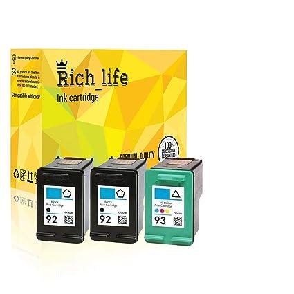 3pk Remanufacturado cartuchos de tinta compatibles para HP 92 y HP ...