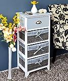 Cómoda en estilo antiguo, armario para baño, estantería en gris y blanco, con un cajón y tres cestas cubiertas con fundas en color azul