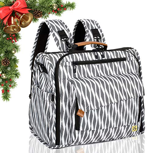 ALLCAMP Zebra Diaper Bag Large, Support Baby Stroller, Converted Into a Tote Bag, Black and White …