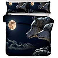 Lonely wolf animal moon 3d bedding - duvet cover and pillowcase, bedroom three-piece bedding (duvet cover + 2 pillowcases), Prevent moisture, hypoallergenic, single, double, king bed