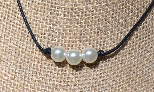 Amazon.com: 3 Wishes Vegan Leather and Pearl Necklace ...