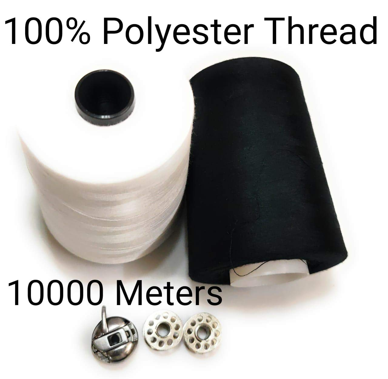 10,000 METRES OF BLACK POLYESTER SEWING MACHINE THREADS