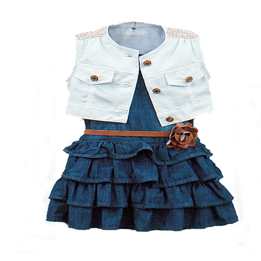 Comemall Toddler Girls Ruffled Denim Jean Skirts+Coat+Belt 3 Pcs Costume Clothes