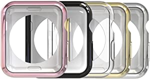 Simpeak Slim Case Compatible with Apple Watch Series 2 Series 3 38mm, Pack of 5, Scratch Resistant, Transparent, Black, Gold, Rose Gold, Silver