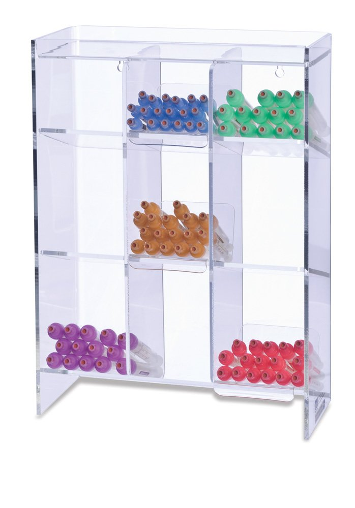 Clearform ML7100 Clear Acrylic Tube Rack with 9 Compartments, 16'' H x 12'' W x 5.5'' D by Clearform