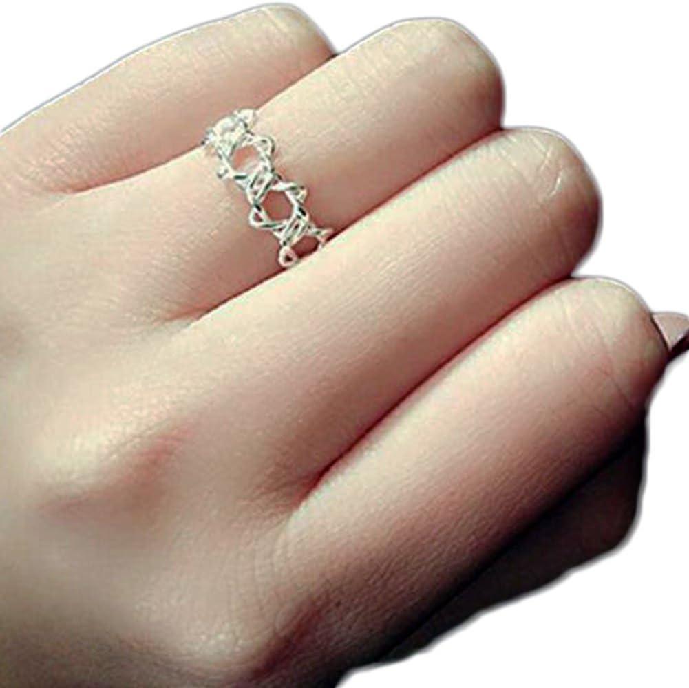 Doitsa リング 指輪 フリー サイズ 調節可能 中空 六角形 星 キラキラ 手飾り 誕生日 クリスタル 結婚式 婚約 記念日 ファッション シンプル プレゼント レディース