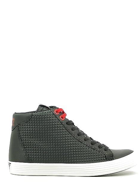Emporio Armani EA7 Scarpe Sneakers Alte Uomo in Pelle Prisma Nero   Amazon.it  Scarpe e borse ff70e4c1d3d