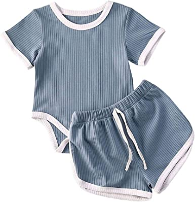 Newborn Baby Girl Boy Ribbed Knit Cotton Short Sleeve Romper Bodysuit Tops+Summer Short Pants Clothes Outfit 2Pcs Set