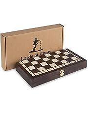 Jeu d'échecs de Haute qualité fabriqué à la Main en Bois Pliant pièces d'échecs en Bois d'échiquier Noble Enfants et Cassette d'échecs Professionnel avec des Chiffres sculptés à la Main (35x35)