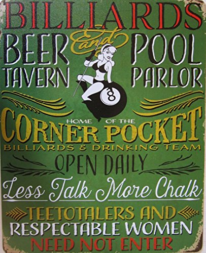 Billiards Beer Tavern and Pool Parlor Metal Sign ()
