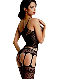 2a787f48d5a Amoretu Women Lace Tights Crotchless Lingerie Suspender Fishnet Bodystocking