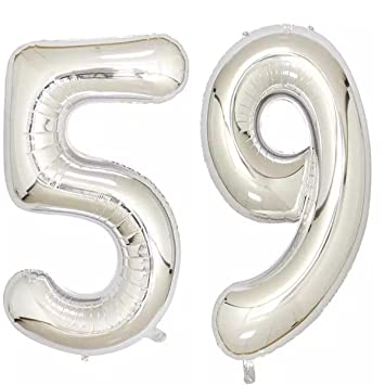 Amazon.com: Plata de 40 inch Lámina 59 helio Jumbo número ...