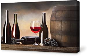 SIGNFORD Canvas Wall Art for Living Room,Bedroom Home Artwork Paintings Red Wine Ready to Hang - 24x36 inches