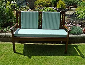 3 Seater Garden Bench Cushion Set With 3 Back Pads - Olive Green