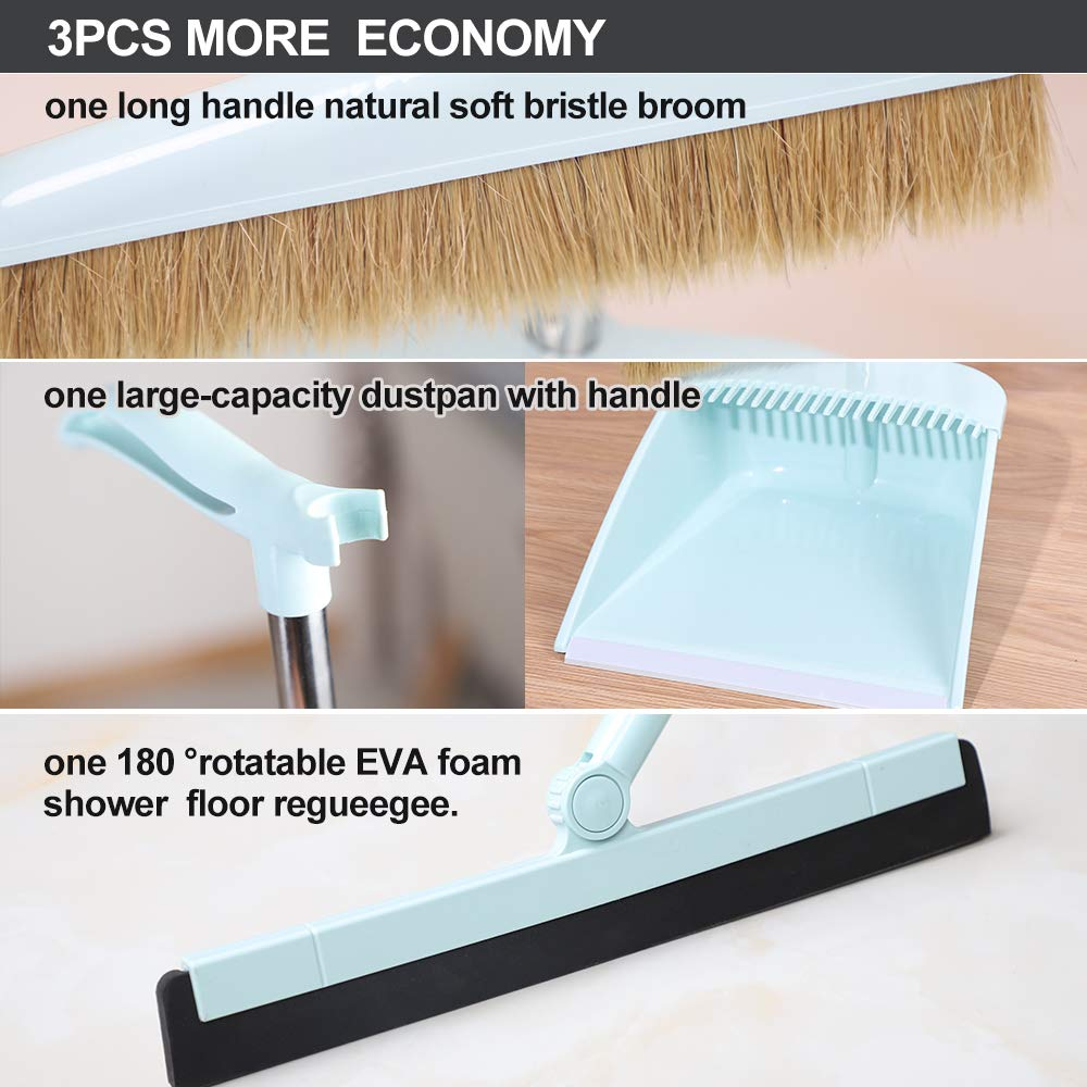 Midoneat Broom and Dustpan Set Squeegee 3 Packs Good Grips Sweep Set with Long Handle Natural hog Bristle Broom Rubber Lip Dustpan with Comb 180° Rotation Wiper .Sweeping for Kitchen Lobby Office by midoneat (Image #3)