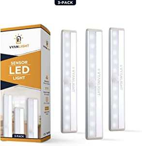LED Closet Light Motion Activated, Cordless Under Cabinet Motion Sensor Light, Wireless Stick-on Anywhere Battery Operated 10 LED Motion Sensor Night Light for Closet Hallway Stairway, 3 Pack