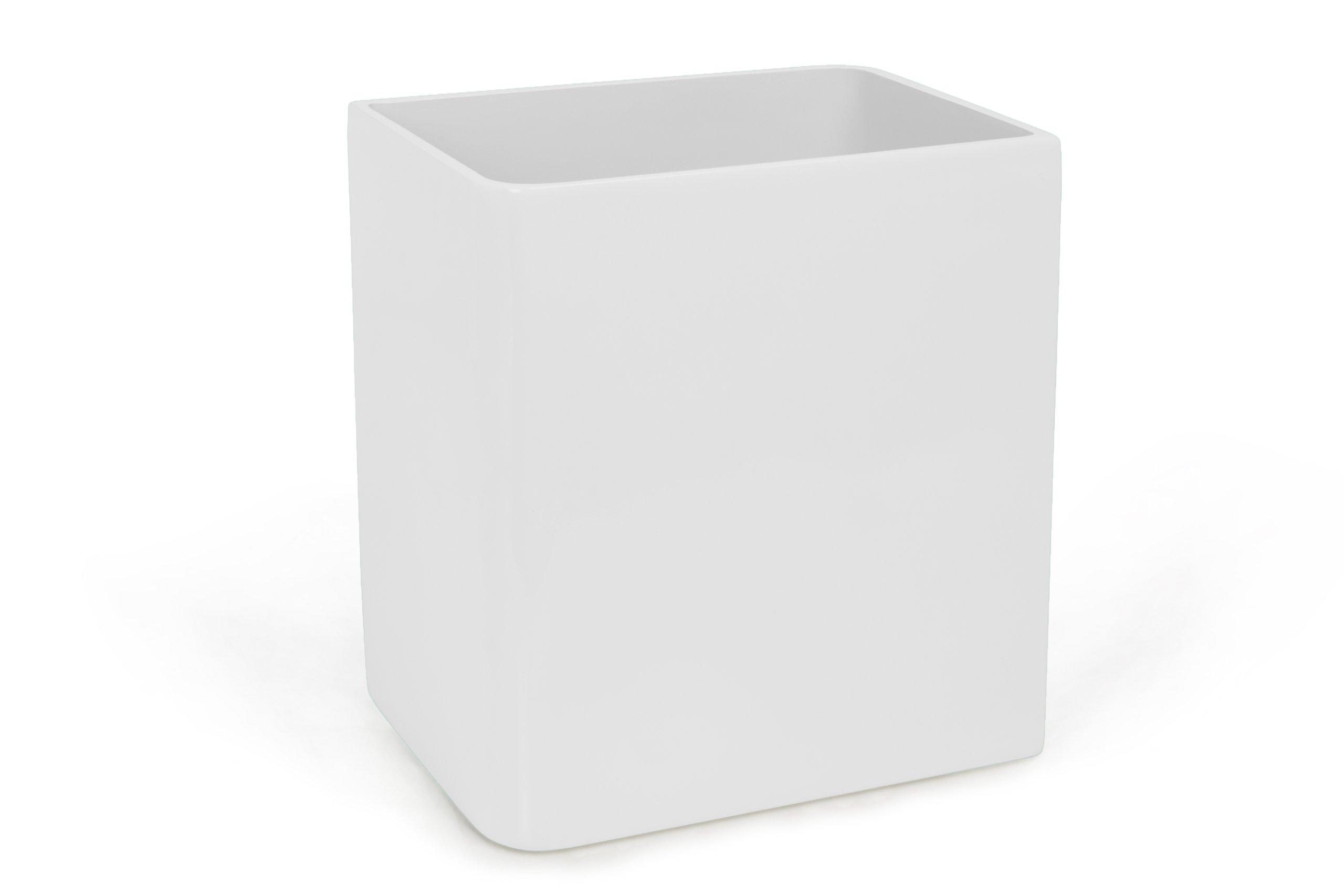 Kassatex Lacca Bath Accessories Waste Basket, White