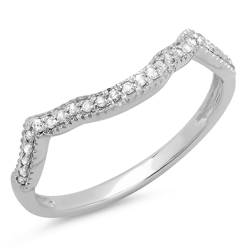 0.15 Carat (ctw) Sterling Silver Round Real Diamond Ladies Wedding Stackable Matching Band Anniversary Guard Ring (Size 6)
