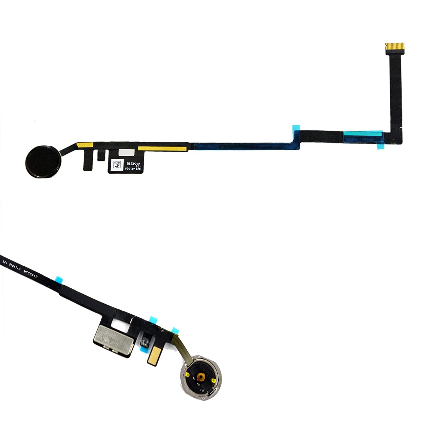 """New Eaglestar Replacement Home Key Button Flex Cable for iPad 5th Gen 9.7"""" 2017 A1822 A1823-Black (Black Ring)"""