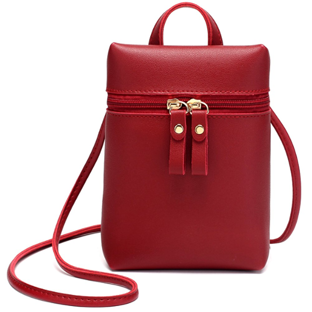 Mini Cell Phone Bag, Small Shoulder Handbag Cross Body Bag for Women Girls, Uniuooi PU Leather Travel Neck Pouch Money Wallet Key Coin Pouch Ticket Card Organiser