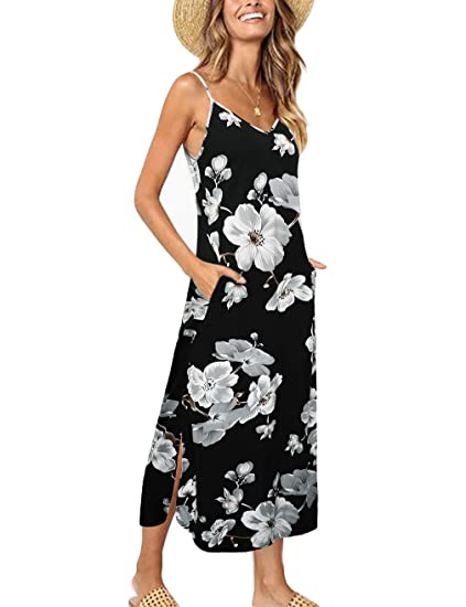 a3d9cc634 HNNATTA Women's Summer Casual Pockets Strappy Long Dress Loose Beach Cami  Split Maxi Dress,Black