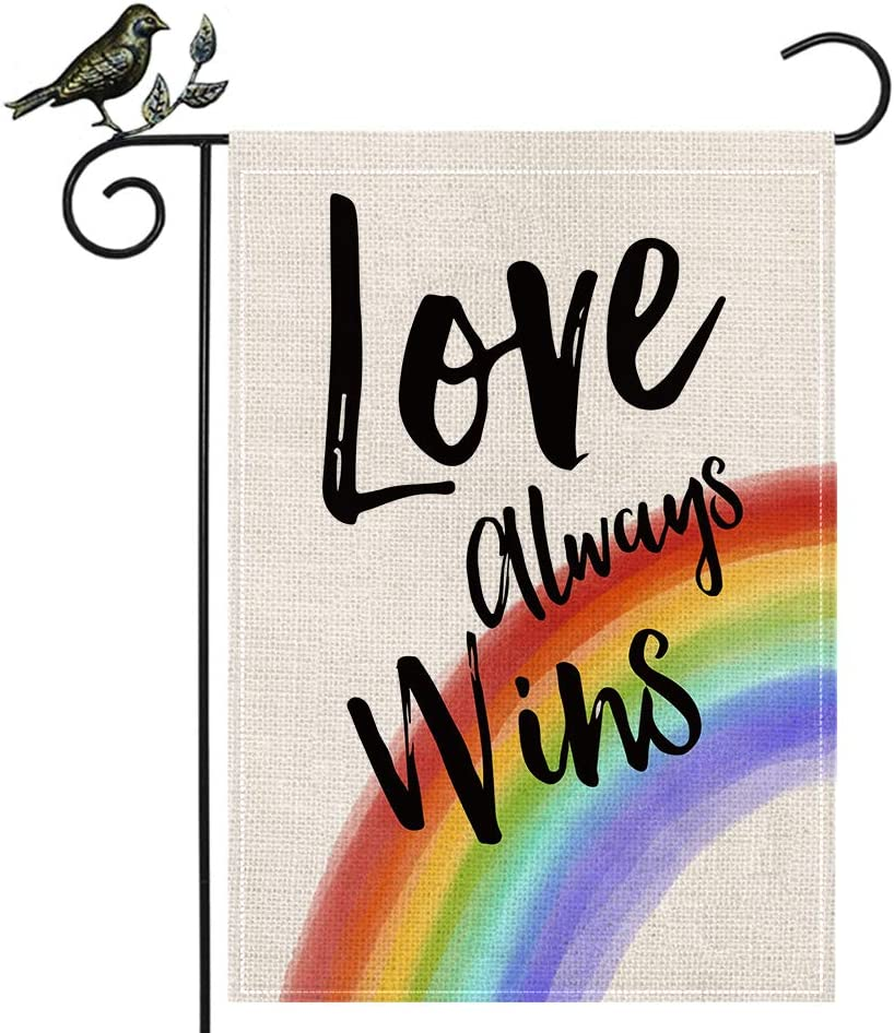 AENEY LGBTQ Garden Flag 12.5 x 18 Inch Vertical Double Sided Decorative Love Always Wins Rainbow Pansexual Flag Decor For Outside Yard Pride Gay Pride Lesbian Bisexuals Flag Outdoor Decorations B88-12