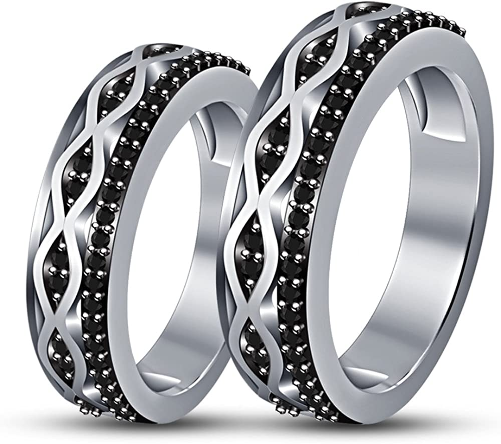 TVS-JEWELS His And Her White Gold Plated Couple Rings For Lover Engagement Wedding