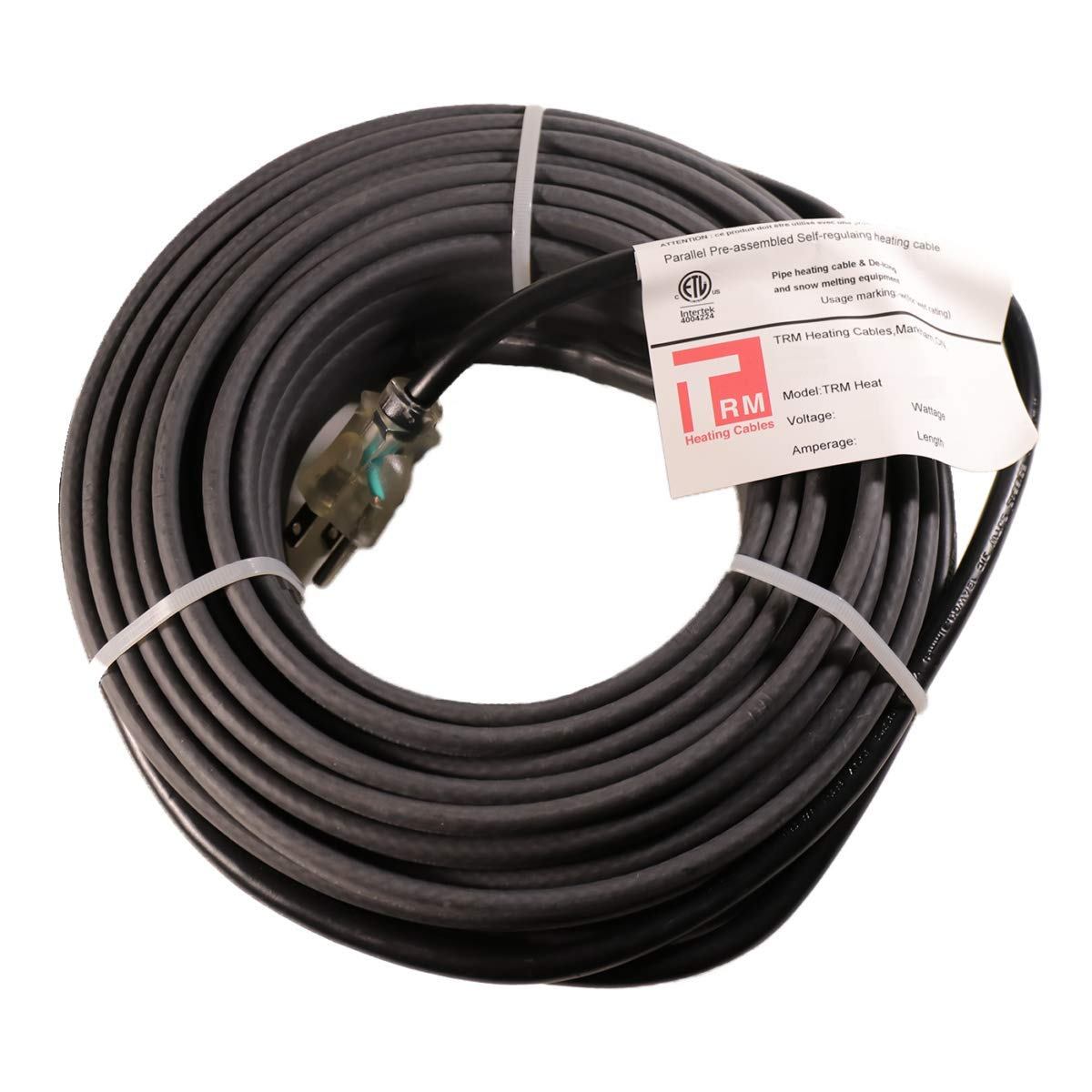 Thermal Resources Management Self-Regulating De-Icing Roof Heating Cable - for Heat Tracing and Ice Dam Prevention - Direct Plug-in System - 120 Volts (18 Feet + 6 Feet Cold Lead) by Thermal Resources Management