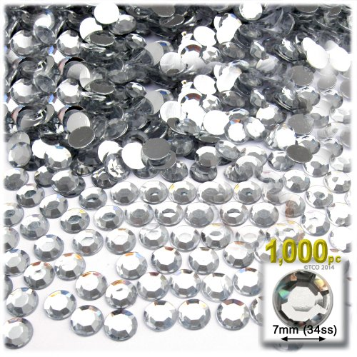 34ss Crystal (The Crafts Outlet 1000-Piece Flat Back Loose Acrylic Round Rhinestones, 7mm, Crystal Clear)