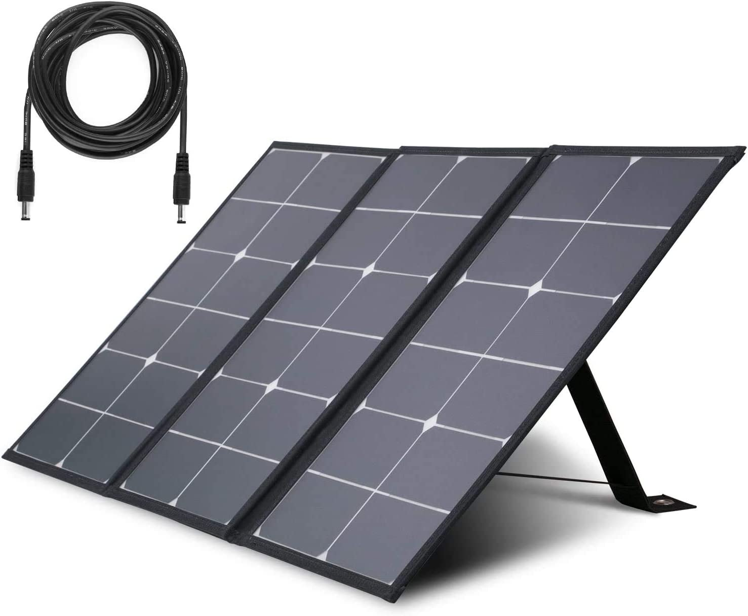 Solar Panels Portable Camping Foldable Solar Charger with QC3.0 Quick Charging USB DC Type C Port Kickstand Extension Cord DIY for Outdoors RV Boat Laptop Tablet GPS iPhone iPad Camera Lamp 60W