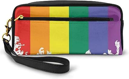 Estuche para lápices, bolsa de papelería, diseño de bandera de arcoíris para apoyar el estilo de vida, la libertad de amor, las salpicaduras, pequeño bolso de maquillaje: Amazon.es: Belleza