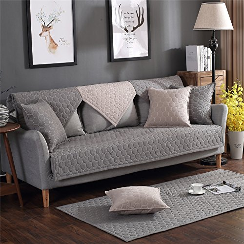 - OstepDecor 100% Cotton Quilted Sofa Furniture Protector Couch SlipCover for Pet Dog Children Kids | Backrest and Armrest Sold Separately | Dark Grey 28
