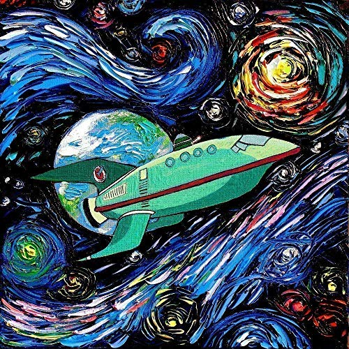 Spaceship Art Starry Night Poster Print van Gogh Never Had It Delivered Express Art by Aja choose size and type of paper