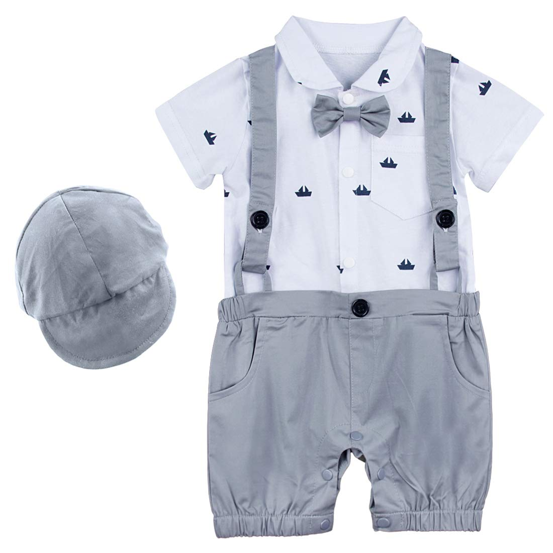 mit Fliege und Hut 100/% Baumwolle bedruckter Body A /& J DESIGN Baby Junge Gentleman Hosentr/äger Strampler 0-24 M