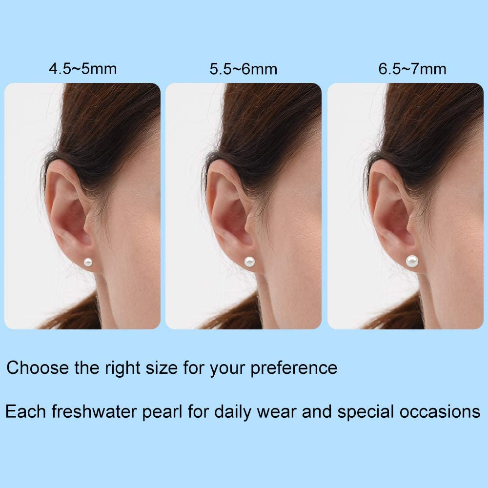 Real Freshwater Cultured Pearls Gold Earrings Sterling Silver White Pearl Hypoallergenic Stud for Women