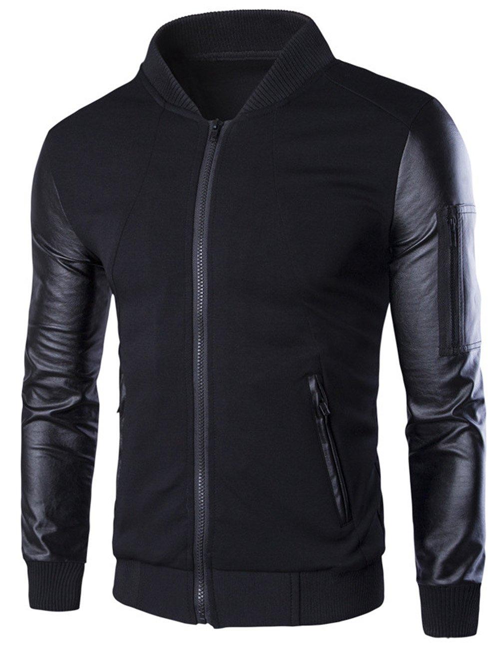 Men's Short Paragraph Zipper Stand Collar Long Sleeve Jacket Black XL