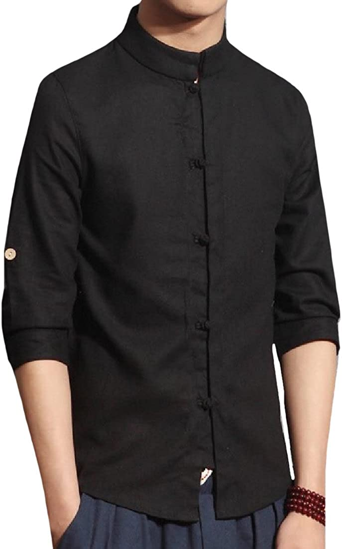 YUNY Men Fitted Oversized Martial Arts Linen Blend Casual Shirts Black XL