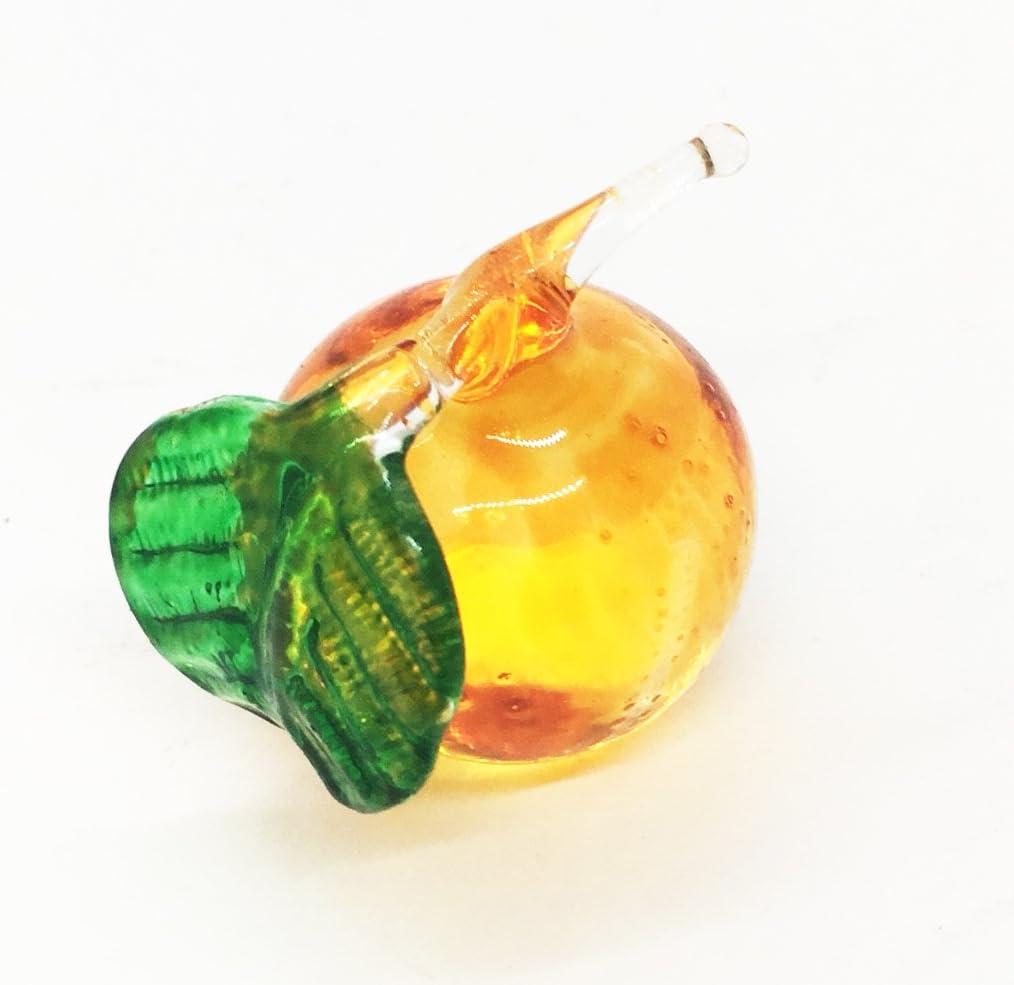 Orange Blown Glass Tangerine Fruit Figurine Hand Painted Blow Art Decor Souvenir
