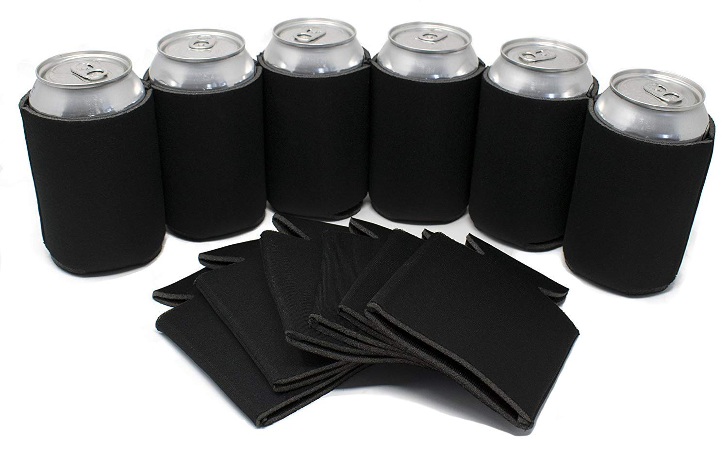 Tahoebay 100 Can Sleeves for Standard Cans Blank Poly Foam Beer Insulator Coolers (Black, 100) by G7 Power