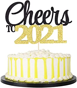 palasasa Cheers to 2021 Cake Topper- 2021 New Years Eve Party Decorations,New Years Party Cake Decor- Farewell to 2020 and Welcome to 2021 (Black Gold)