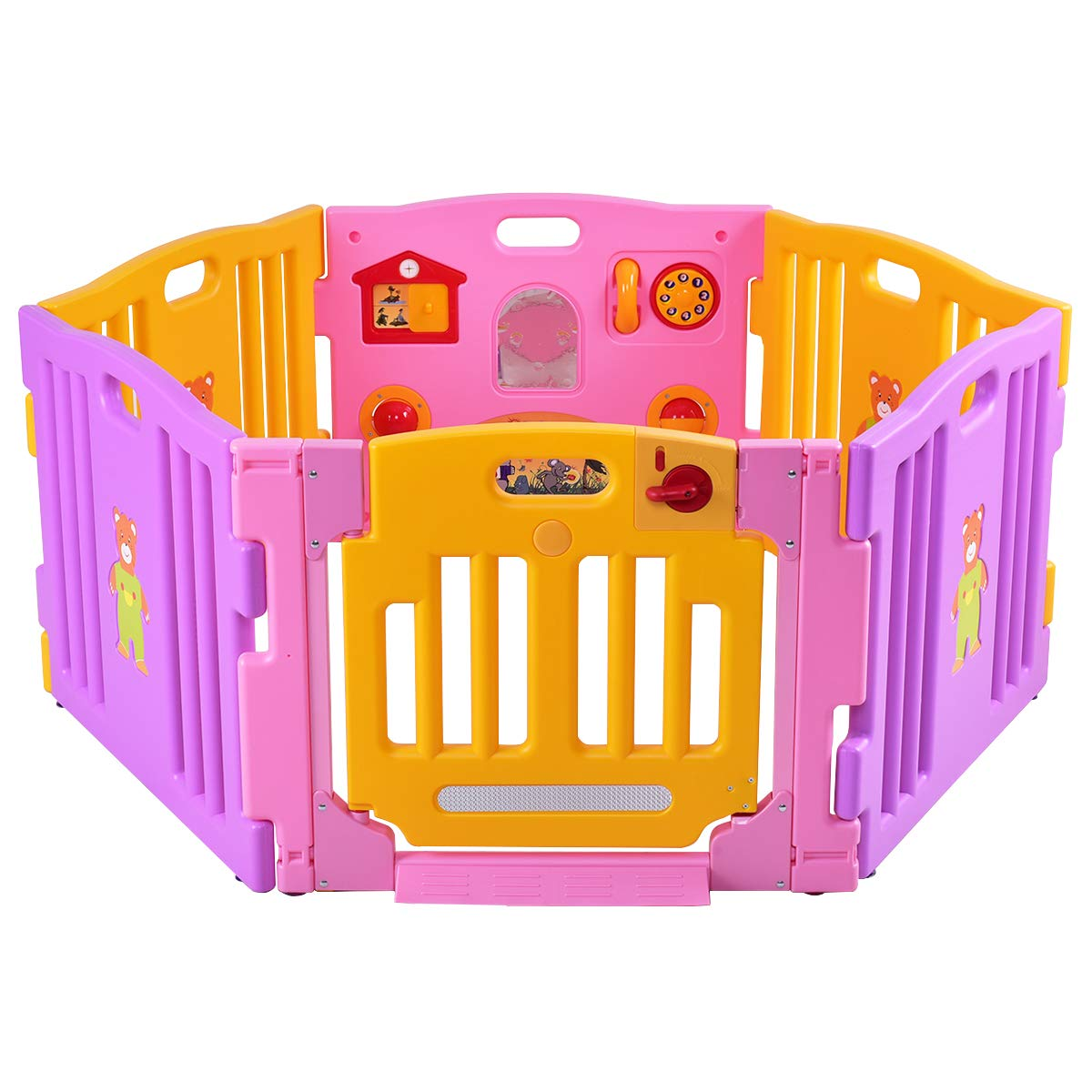 Petsite Baby Safety Gate, Baby Play Fences, Wide Barrier Gate with Walk-Through Door in 2 Directions, Wall-Mount Play Center Yard, Home Indoor Outdoor Metal Gate for Pet Child Pink, 6 Panels