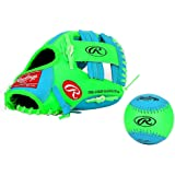 Rawlings Baseball Gloves & Mitts for kids (blue+green, 10.5 inch)