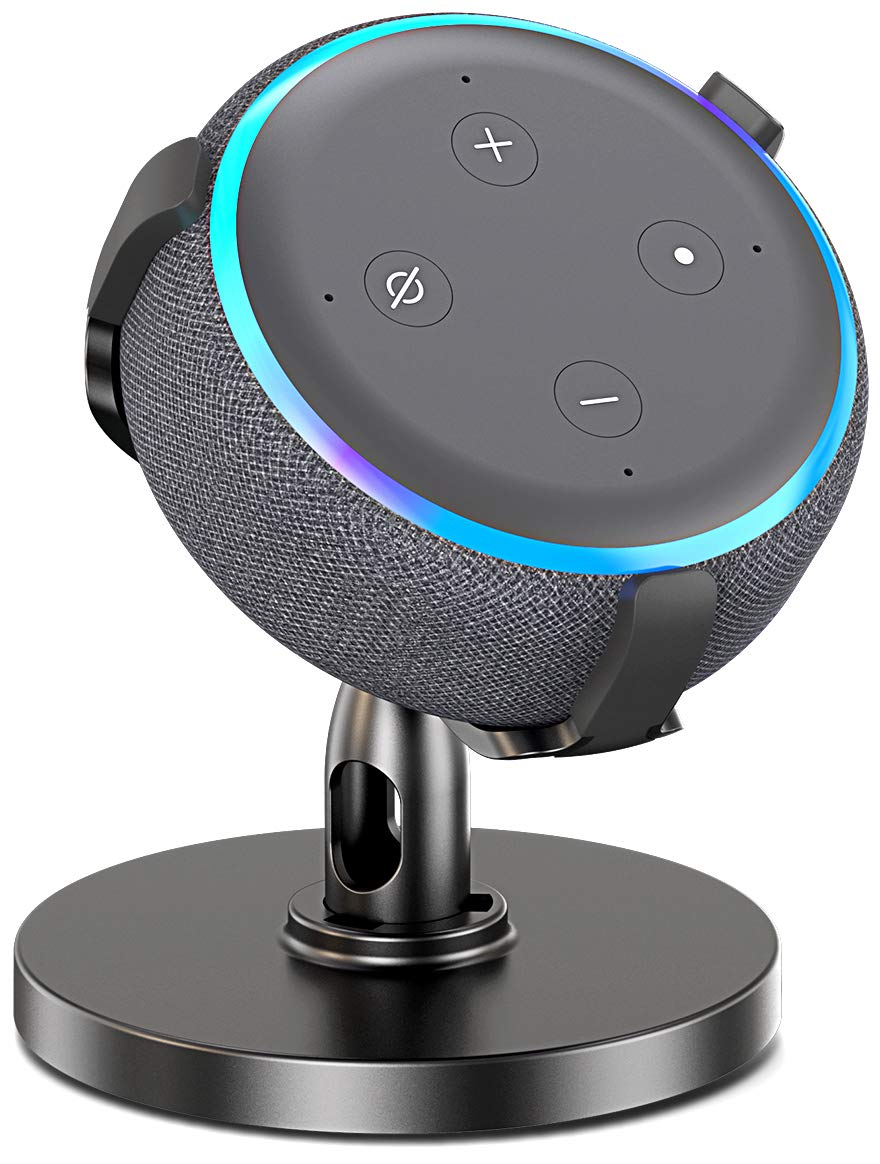 Pobon Table Holder for Echo Dot 3rd Generation, 360° Adjustable Stand Bracket Mount for Smart Home Speaker, Improves Sound Visibility and Appearance, Dot Accessories